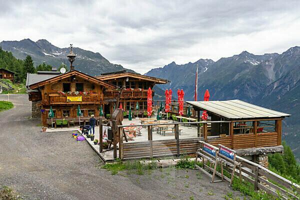 Europa, Österreich, Tirol, Ötztaler Alpen, Ötztal, Jausenstation Löple Alm oberhalb von Zwieselstein