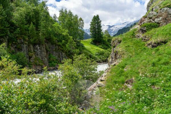 Europe, Austria, Tyrol, Ötztal Alps, Ötztal, view into the Gurgler valley towards the end of the valley with the Gurgler Ferner