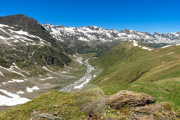 Europa, Österreich, Tirol, Ötztaler Alpen, Ötztal, Blick in das Rotmoostal in den Ötztaler Alpen