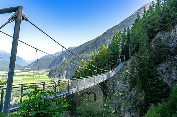 Europe, Austria, Tyrol, Ötztal Alps, Ötztal, Längenfeld suspension bridge between Brand and Burgstein