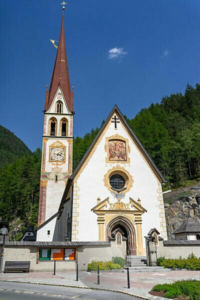 Europe, Austria, Tyrol, Ötztal Alps, Ötztal, view of the parish church Längenfeld