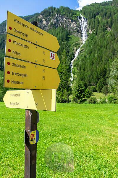 Europe, Austria, Tyrol, Ötztal Alps, Ötztal, Lehner waterfall at Längenfeld in the Ötztal