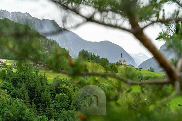 Europe, Austria, Tyrol, Ötztal Alps, Ötztal, view of the chapel at Oetzerau in the Ötztal