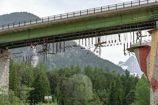 Europe, Austria, Tyrol, Ötztal Alps, Ötztal, climbing garden under the bridge of Tiroler Strasse in Funpark Area 47