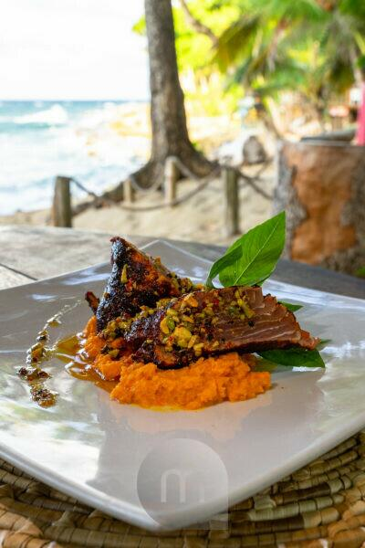 America, Caribbean, Greater Antilles, Dominican Republic, Cabarete, tuna fillet in the restaurant of the Natura Cabana Boutique Hotel & Spa