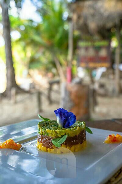 Amerika, Karibik, Große Antillen, Dominikanische Republik, Cabarete, Vorspeise im Strandrestaurant des Natura Cabana Boutique Hotel & Spa