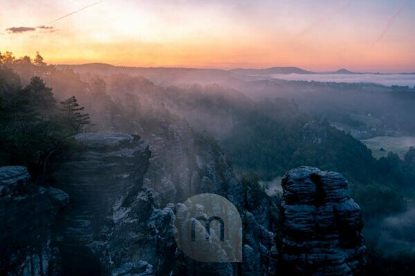 First light in the Bastei area